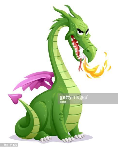 green dragon - animal mouth stock illustrations