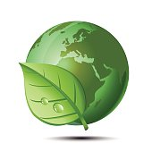 Green earth and leaf. Ecology concept