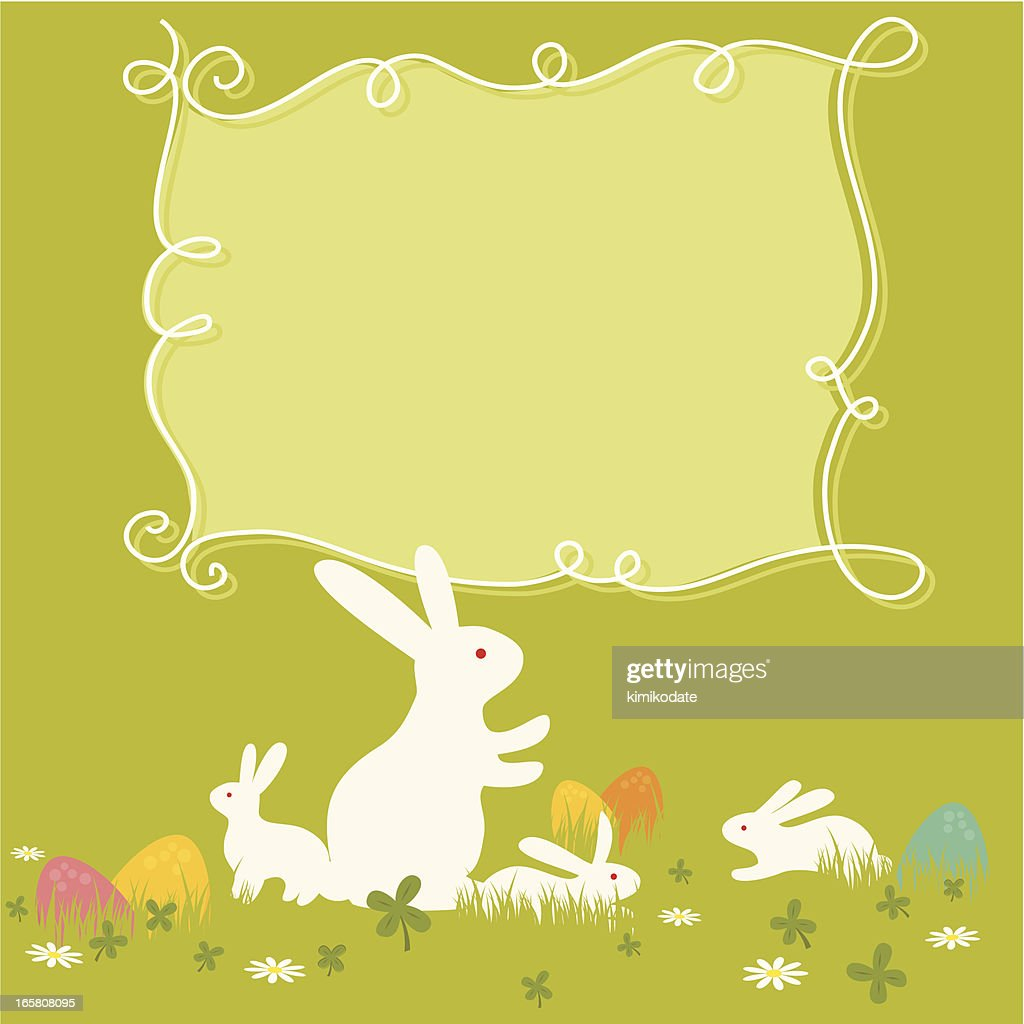 green easter bunny and egg template with blank text box vector art