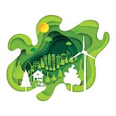 Green eco city abstract paper art background