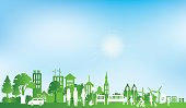 Green eco city and life paper art style, urban landscape