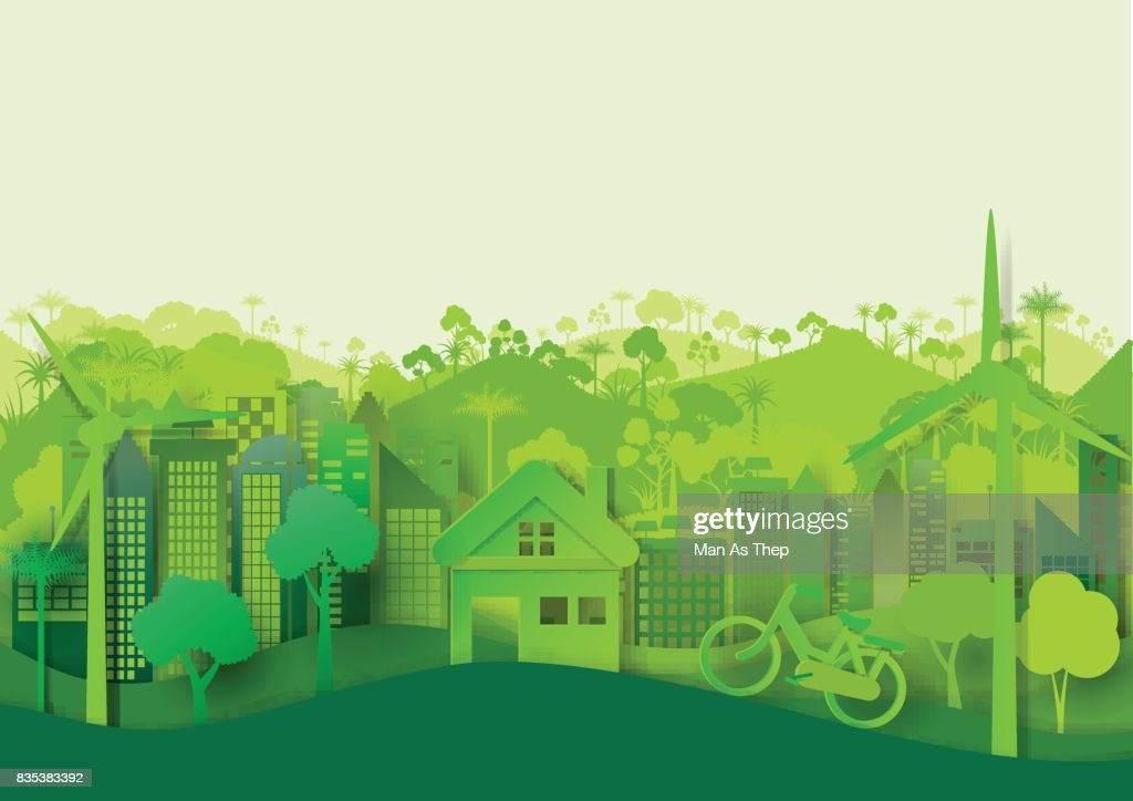 Green eco cityscape background
