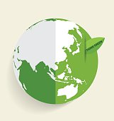 Green Eco Earth, Green earth with green leaf. Vector Illustratio