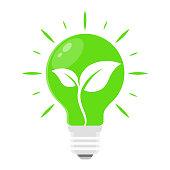 Green Eco Energy Bulb Light Illustration Vector Icon