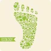 Green eco foot shape - Illustration
