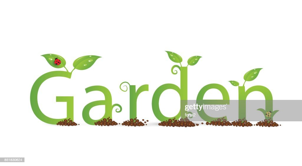 green eco friendly text Garden decorated with leaves and bugs and curl on the white backgroung,
