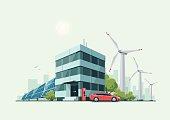 Green Eco Office Building with Electric Car Solar Panels Windmills