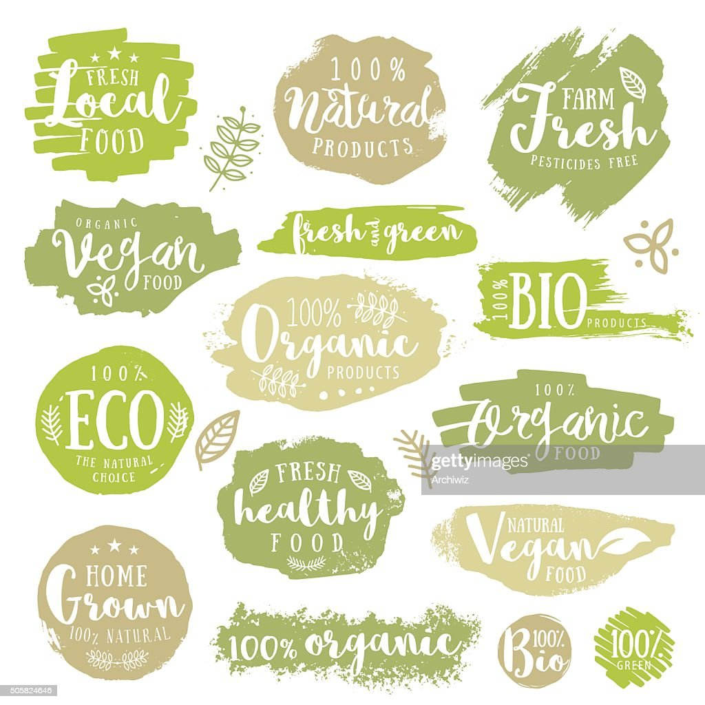 Green, eco, organic, vegan, natural, farm fresh, food, healthy labels