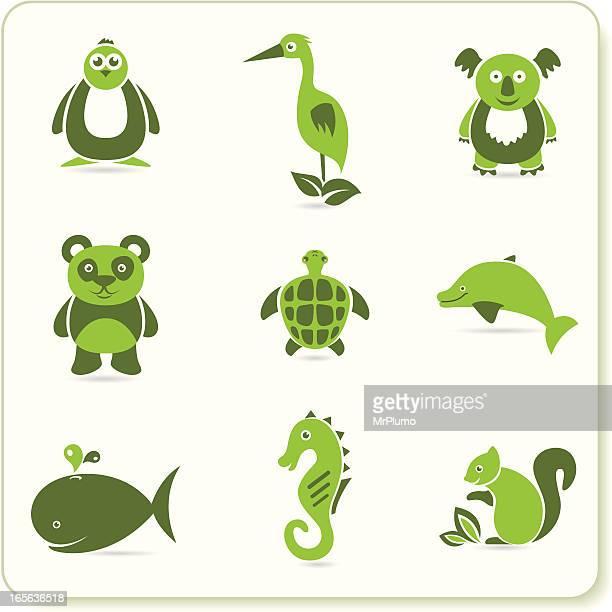 green eco symbols - green turtle stock illustrations, clip art, cartoons, & icons