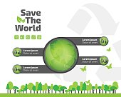 green ecology infographic element, save world and tree eco concept. used for workflow layout, banner, diagram, web design, timeline, info chart, statistic brochure template. vector illustration