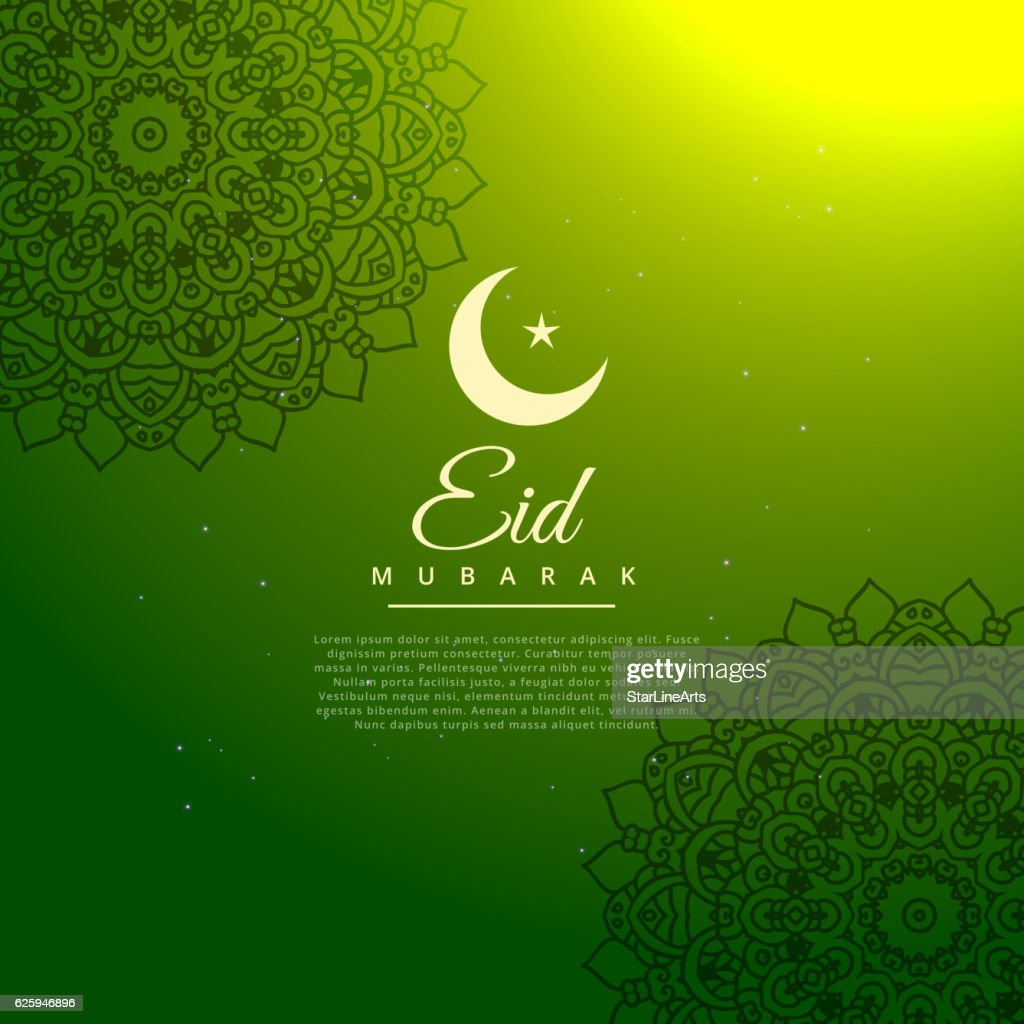 green eid mubarak festival background