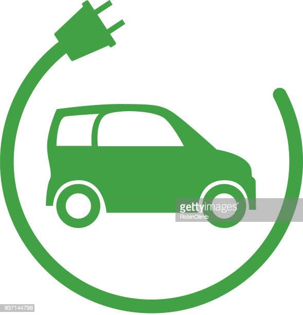 green electric car icon - compact car stock illustrations, clip art, cartoons, & icons