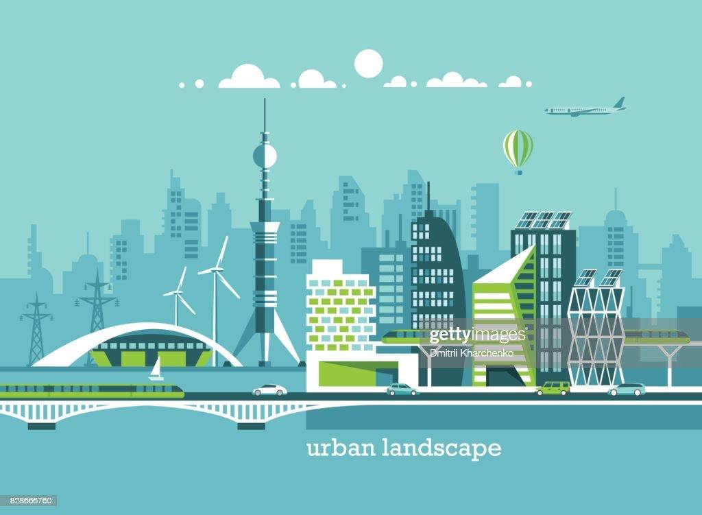 Grune Energie Und Eco Freundliche Stadt Moderne Architektur Gebaude
