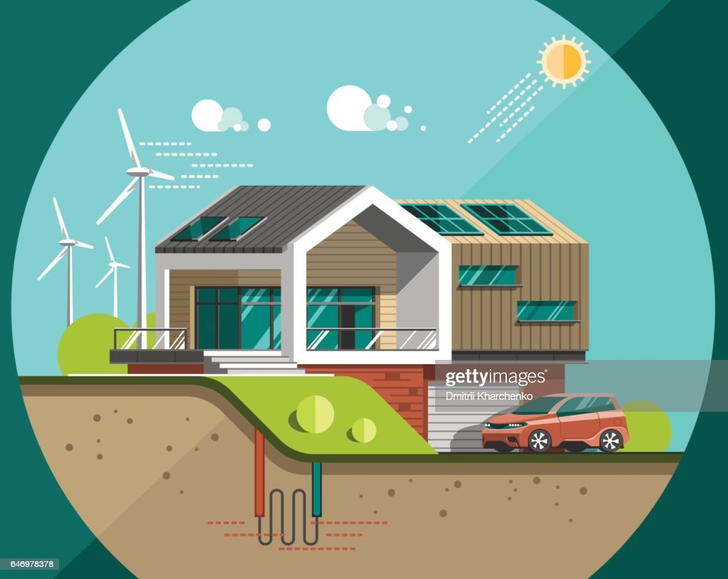 Green energy and eco friendly modern house. Solar, wind, geothermal power.