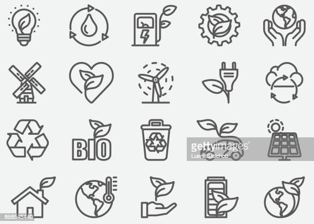 ilustraciones, imágenes clip art, dibujos animados e iconos de stock de energía verde y los iconos de línea ecología - energias renovables