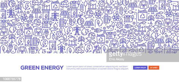 ilustraciones, imágenes clip art, dibujos animados e iconos de stock de energía verde bandera - energias renovables