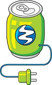 Green energy drink can with AC power charging plug. Power filling concept.