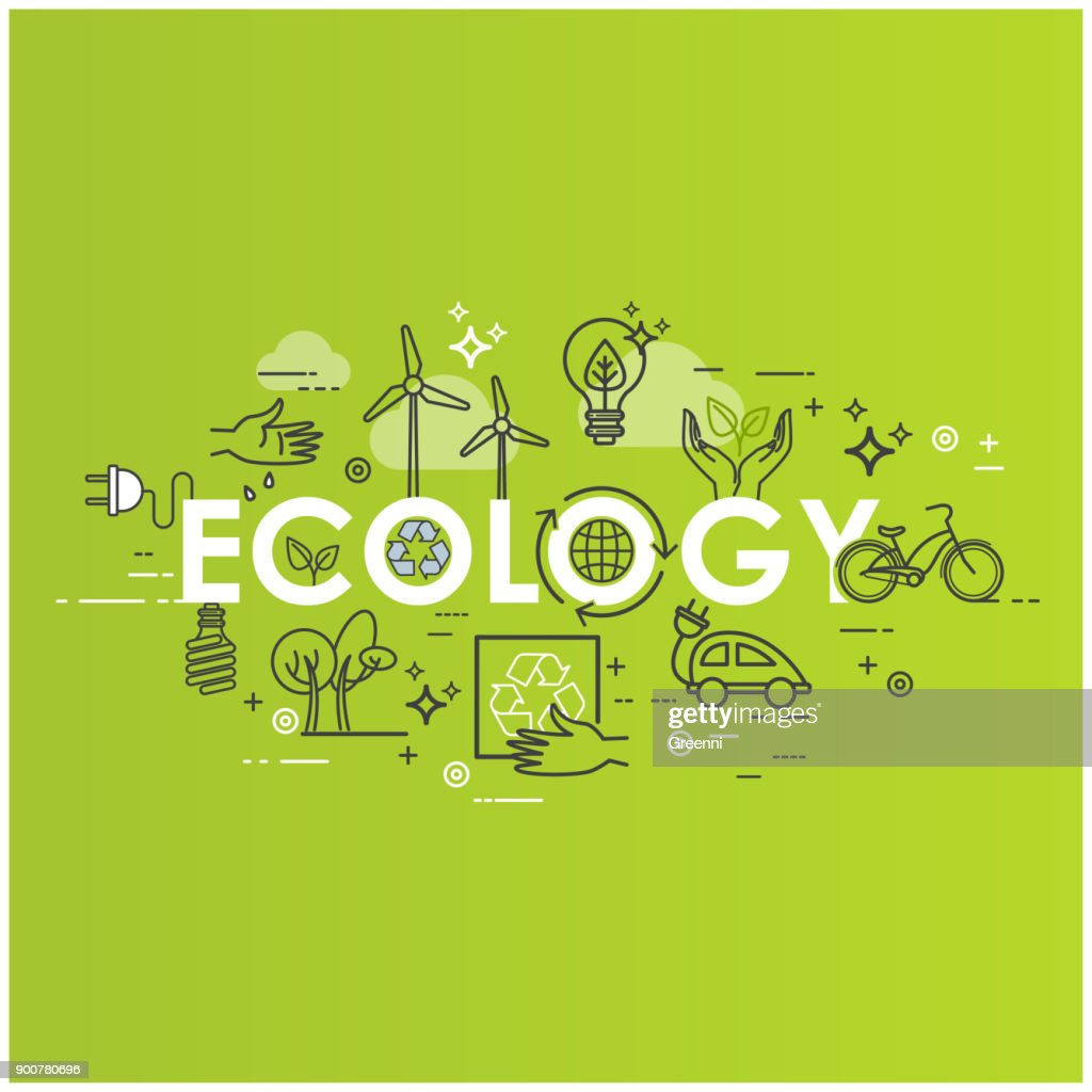 Green energy, ecology lifestyle, recycle. Icons. Vector design template in linear style