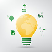 Green Energy - Global Warming, Ecological Problems And Solutions - Light Bulb Concept Design