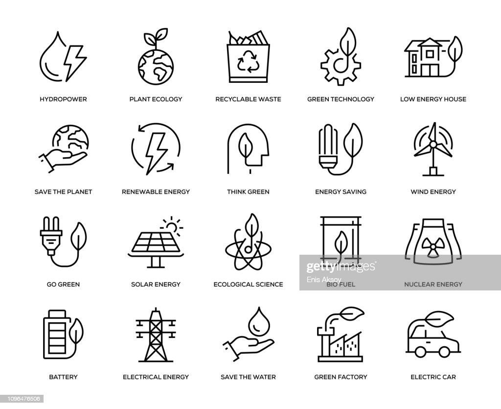 Conjunto de iconos de la energía verde : Ilustración de stock