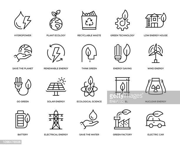 green energy icon set - fuel and power generation stock illustrations
