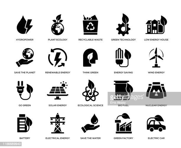 green energy icon set - environment stock illustrations