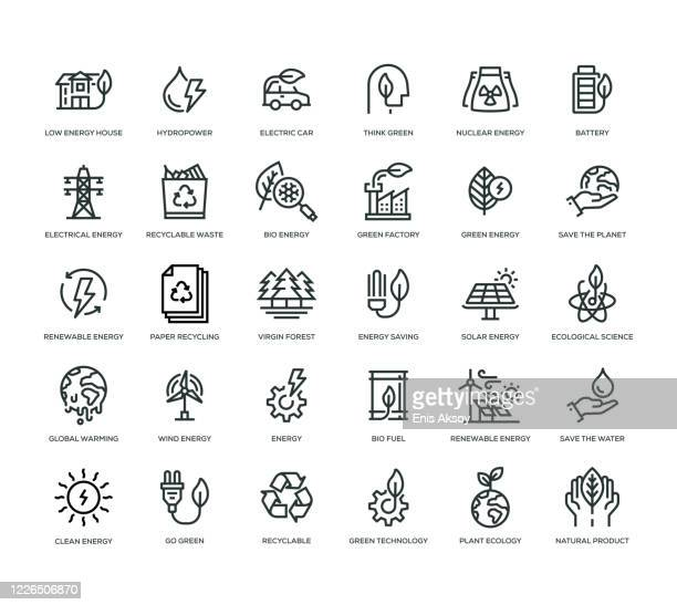 illustrazioni stock, clip art, cartoni animati e icone di tendenza di set di icone energia verde - industria energetica