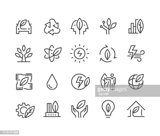 green energy icons - classic line series - ecosystem stock illustrations
