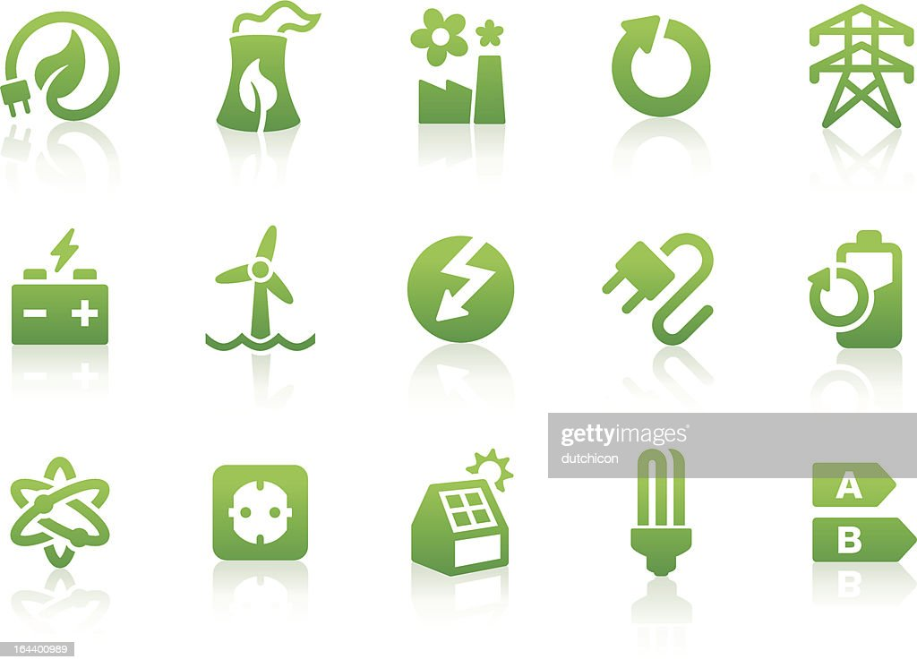 Green energy icons displayed in a white background