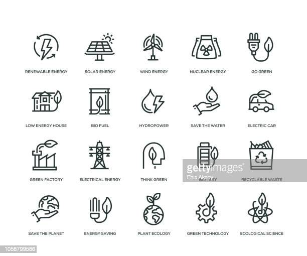 green energy icons - line series - environment stock illustrations