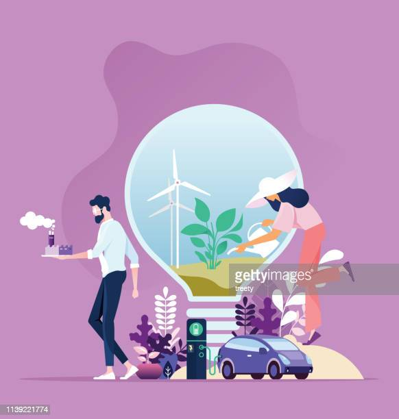 Green energy. Industry sustainable development with environmental conservation