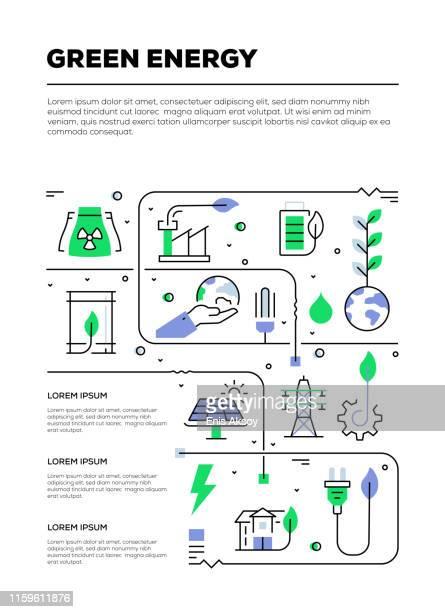 bildbanksillustrationer, clip art samt tecknat material och ikoner med grön energi infographic design - hållbar energi