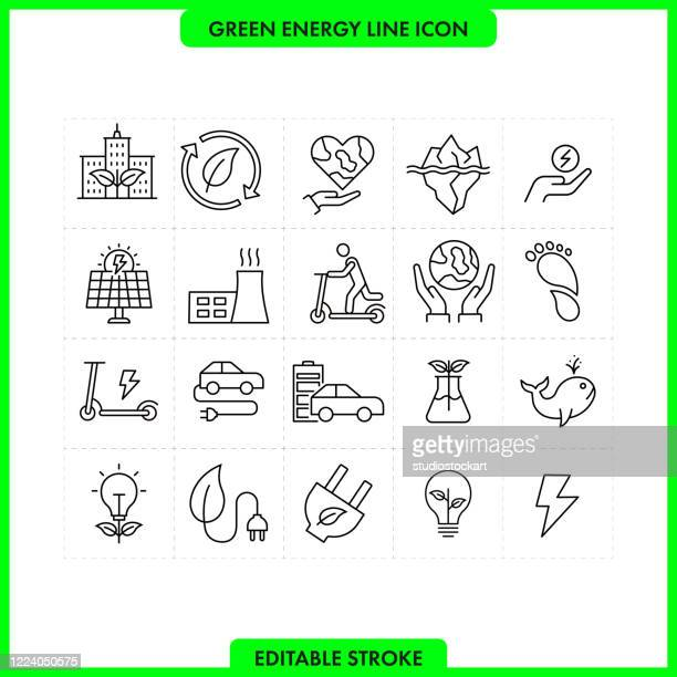 green energy line icon set. editable stroke - radioactive contamination stock illustrations