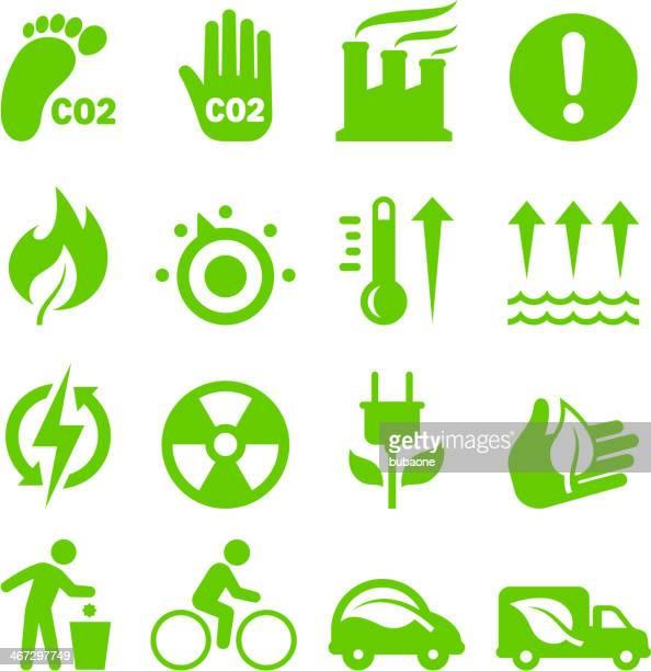 stockillustraties, clipart, cartoons en iconen met green energy royalty free vector interface icon set - koolstofvoetafdruk