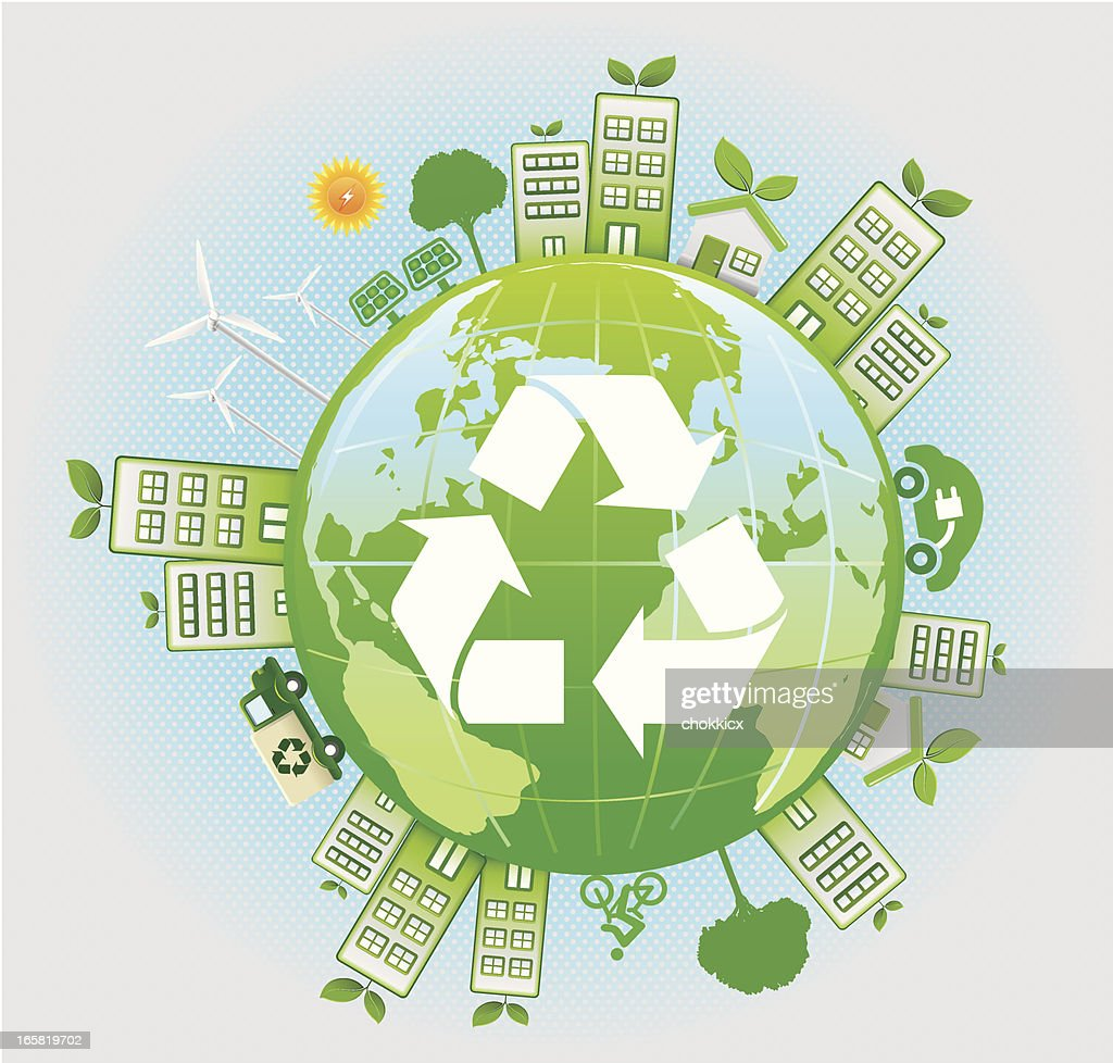 Green Energy World With Recycling Symbol Vector Art Getty Images
