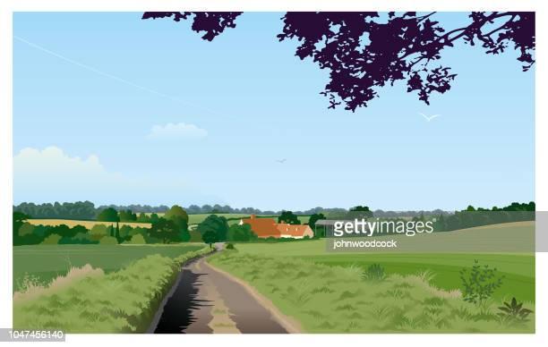 green english landscape illustration - country road stock illustrations