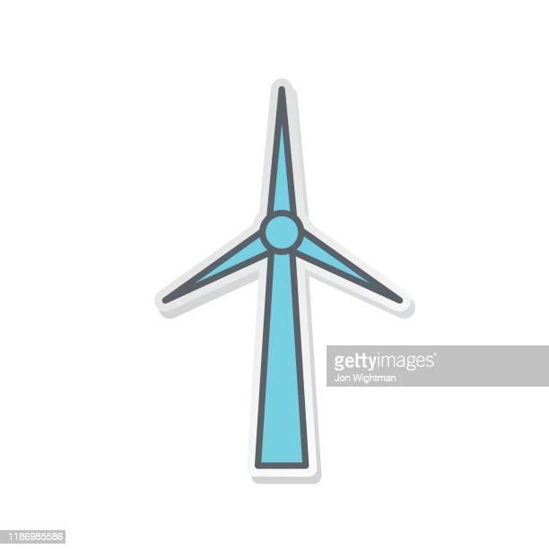 bildbanksillustrationer, clip art samt tecknat material och ikoner med grön miljö linje ikon turbin - vindkraft