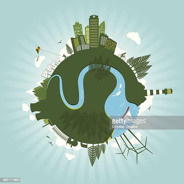 ilustrações, clipart, desenhos animados e ícones de ambiente verde conceito de energia sustentável do mundo - produto local