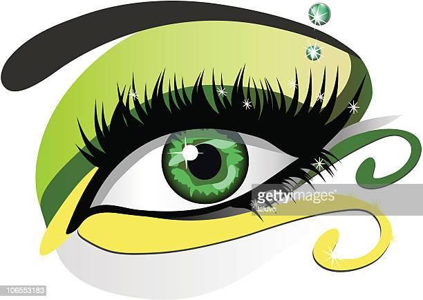ilustraciones, imágenes clip art, dibujos animados e iconos de stock de green ojos - maquillaje para ojos