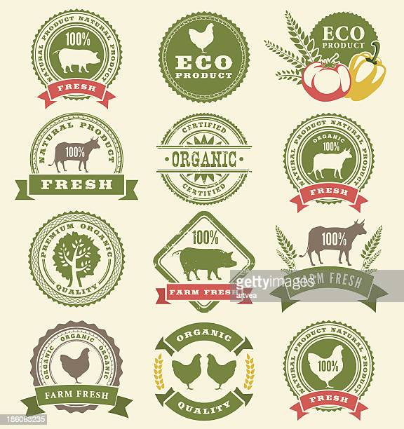 green farm badge and ribbon icons - agricultural fair stock illustrations, clip art, cartoons, & icons
