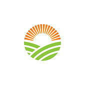 Green farm logo or alternative green energy logo design template