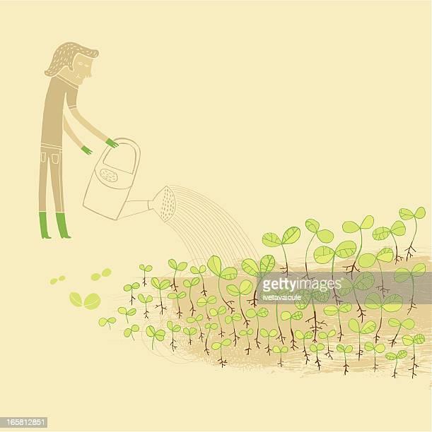 green fingers - landscape gardener stock illustrations, clip art, cartoons, & icons