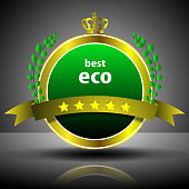 Green Five Star Best Eco Label or Badge Template