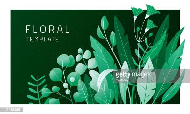 stockillustraties, clipart, cartoons en iconen met groene bloemen banner - leaf