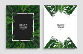 Green floral frame with tropical leaves. Two design templates for overlay your text, call-to-action, print, web design, stationery, promo, headline, invitations, or greetings cards