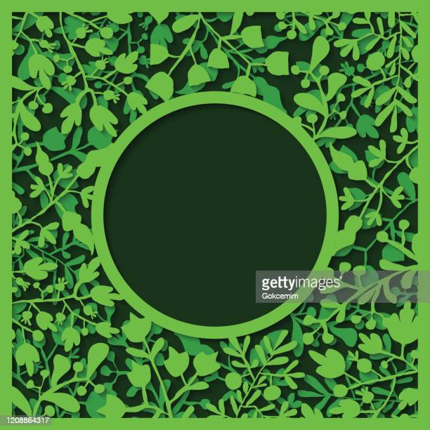 green floral paper-cut art with two layers and shadow. elegant frame for greeting cards (birthday, valentine's day), wedding and engagement invitation card template. paper cut abstract background. - daffodil stock illustrations