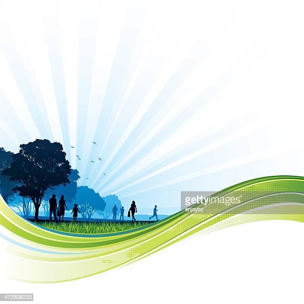 green flow park background - fun stock illustrations, clip art, cartoons, & icons