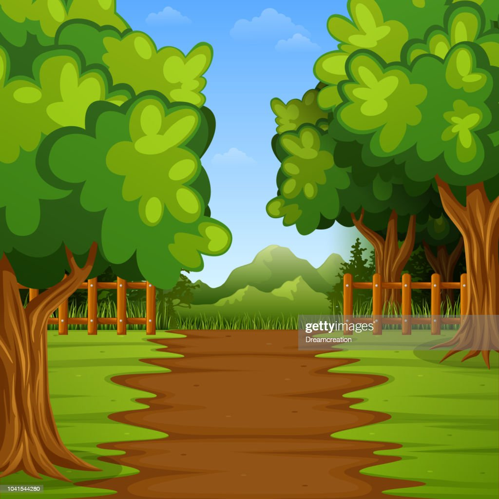 Green forest landscape background