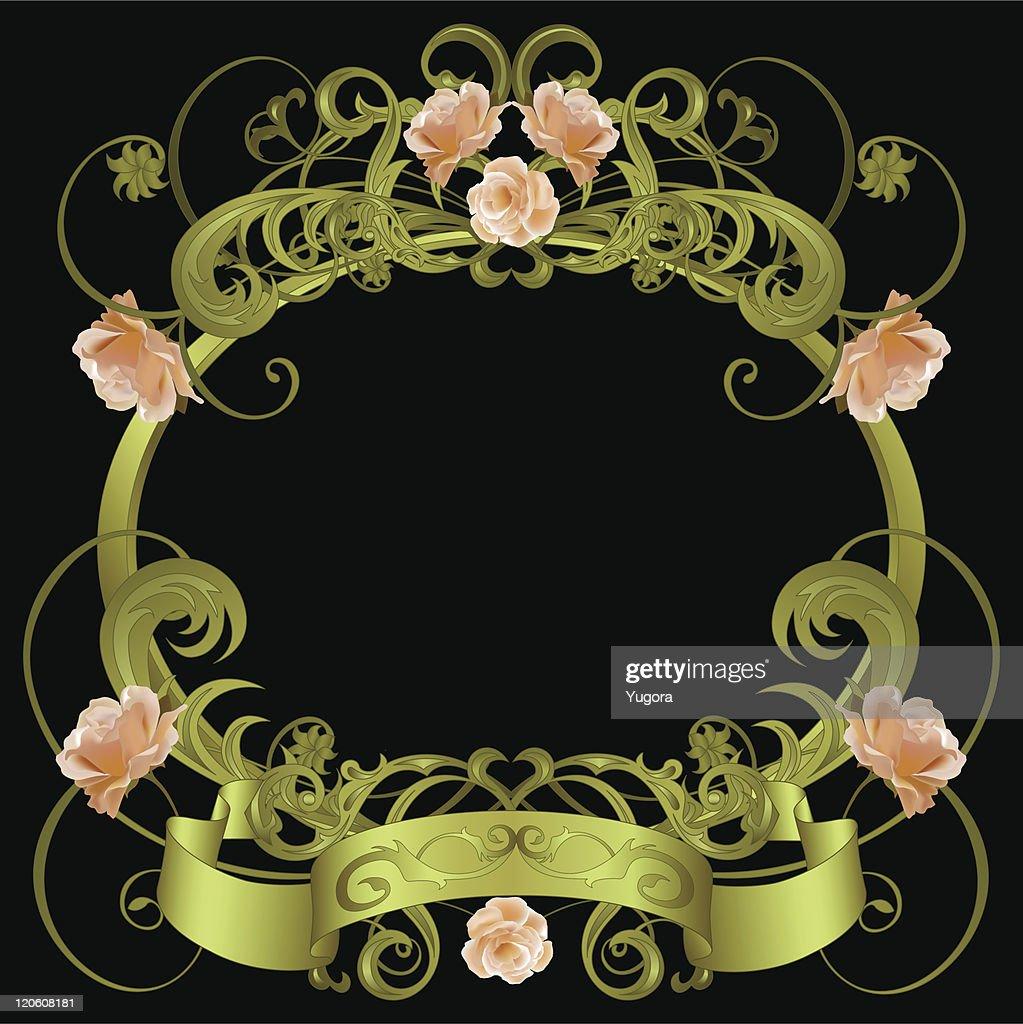Green Framework With Floral Pattern Roses Banner On Black