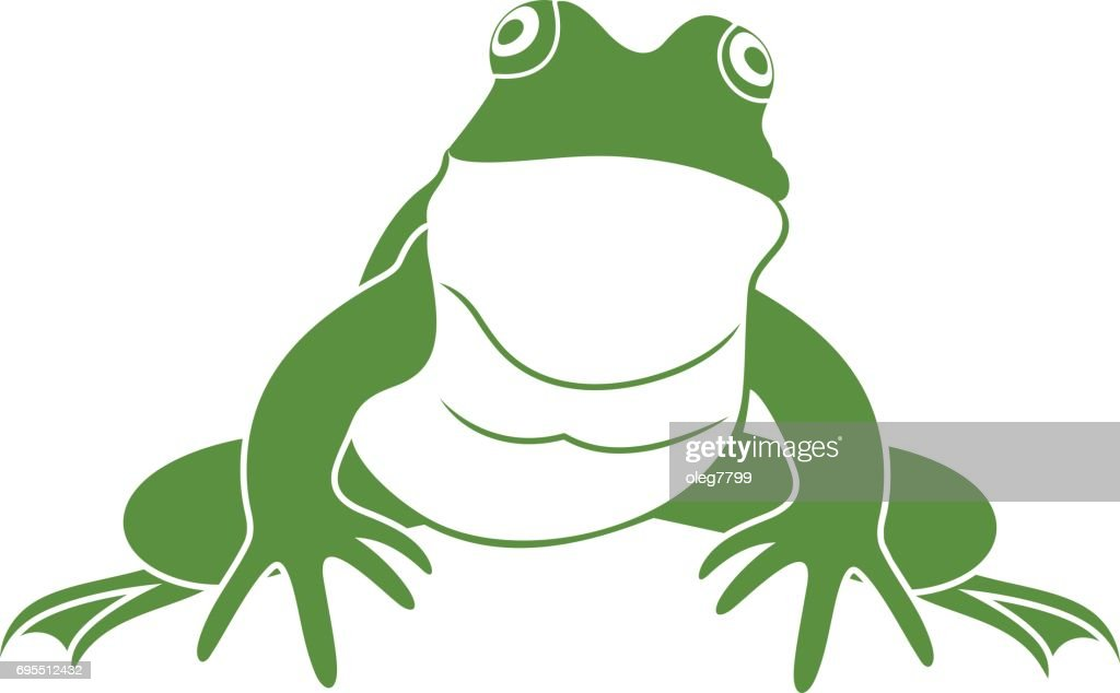Green frog. Isolated frog on white background